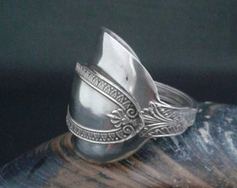 Silver Spoon Ring crafted from an Elegant Orzelleca Italian Argento Silver Hallmarked Tea Spoon - Handmade by Adrift Crafts