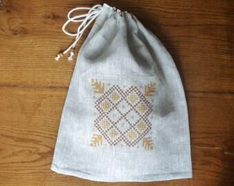 Natural linen bread bag, storage bag, bread keeper.