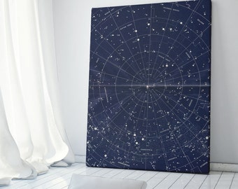 Canvas Wall Art, Vintage Constellation Map, Vintage Star Map, Constellation Wall Art, Celestial Decor, Star Map Canvas Art