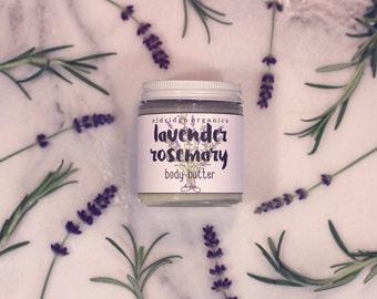 Lavender Rosemary Body Butter - Organic Body Butter - Vegan Body Butter - Organic Lotion - Vegan Lotion
