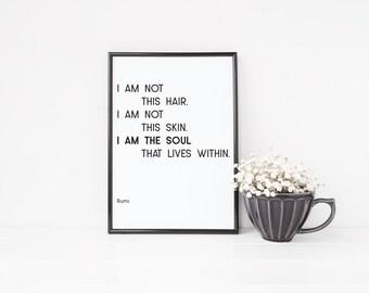 Rumi Art, Rumi Print, Rumi Quote Art, minimalist art, modern wall art, simple wall decor, life quote, monochrome print, minimal print, soul