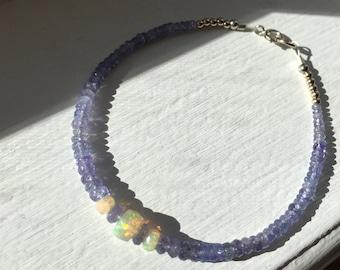 Genuine Opal jewelry, Opal bracelet, Opal jewelry, fine jewelry, 14k white gold, tanzanite bracelet, tanzanite jewelry, real Opal, opals