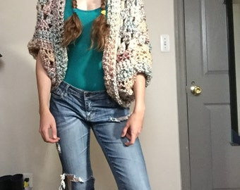 Funky Handmade, One-Of-A-Kind Cocoon Cardigan - Winter Flowers