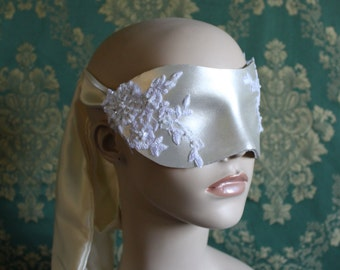 Pearly White, Hand molded, Recycled Leather Boudoir Blindfold, with Beaded Lace Detail and long Silk Tie - Ready to ship