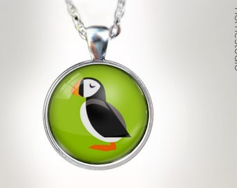 Puffin : Glass Dome Necklace, Pendant or Keychain Key Ring. Gift Present metal round art photo jewelry HomeStudio. Silver Copper Bronze