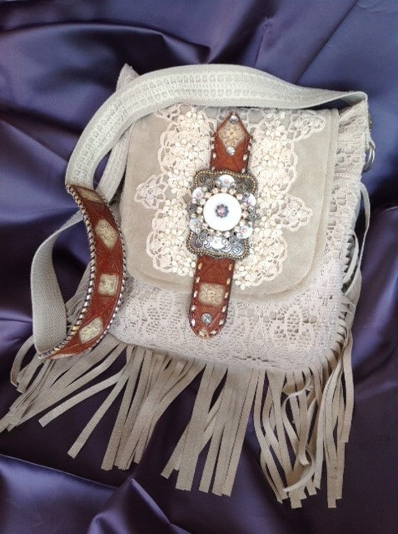 Southwestern Leather Suede and Lace Shoulder Purse