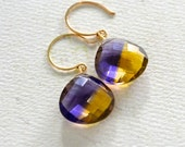 Homecoming Earrings - purple and gold ametrine earrings, purple gold earrings, uw husky jewelry, team colors earrings