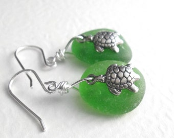 Green Sea Turtle Earrings, Real Sea Glass Jewelry, Hawaii Honu