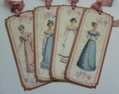 Jane Austen bookmarks or tags, regency fashion, blue and pink, roses, vintage style, victorian, book club gifts - set of 4