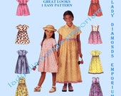 2 - McCalls 9200 Girls Short or Long Raised Waist Dress Jumpsuit Romper Easter Childs sizes 4 5 6 Eight Great Looks Sewing Pattern