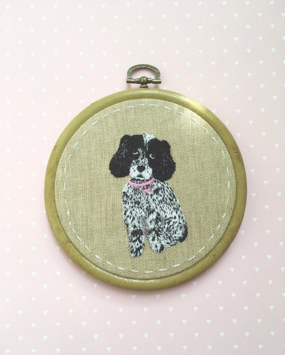 Pet Portrait Embroidery. Personalized Custom Pet Portrait. Hand Embroidered wall hanging art. Commission. Custom Dog or Cat Portrait.
