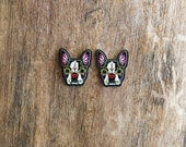 Day of the Dead Boston Terrier Sugar Skull Dog Earrings