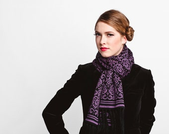 Merino Wool Scarf - Baroque Patterned Scarf - Long Scarf - Winter Scarf - Knit Scarf - Black and Purple Scarf - Winter Accessories