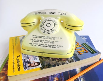 Vintage Yellow Telephone Coin Bank, Novelty Rotary Dial Phone Replica, Mid-Century Money Holder