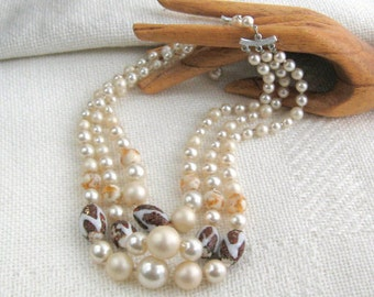 Japan Necklace Vintage 50s Signed Jewelry Red Glass Bead Faux Pearl