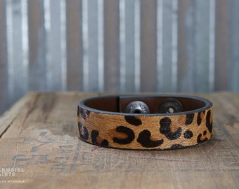 CUSTOM HANDSTAMPED CUFF - bracelet - personalized by Farmgirl Paints -furry textured leopard print leather cuff