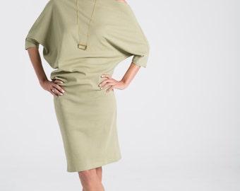 Loose Long Dress / Ribbed Cotton Dress / Extravagant Tunic / Day Dress / Midi Dress / Off Shoulder Dress / Marcellamoda - MD0699