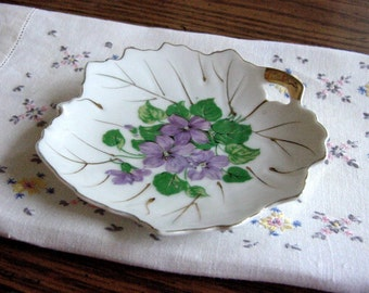 2 Spring Violets Vintage Porcelain China Pin Trays- Hand Painted Gold -Soap Dish, Spoon-rest, Catch-all Trinkets -NASCO Japan
