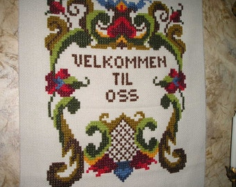 Vintage Nice Country Welcome/Scandinavian Swedish Style Folk Art Embroidered,Weaving,Tapestry/Knotted Wall Hanging Mint.