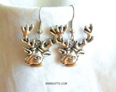 Deer Earrings Silver Earrings Charm Earrings Surgical Steel Hooks French Hooks Simple Earrings Drop Earrings Dangle Earrings