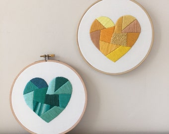 Heart Embroidery Pattern | Modern Hand Embroidery Kit | Beginning Embroidery | Nursery Embroidery Design | Home Decor | Wedding Gift Idea