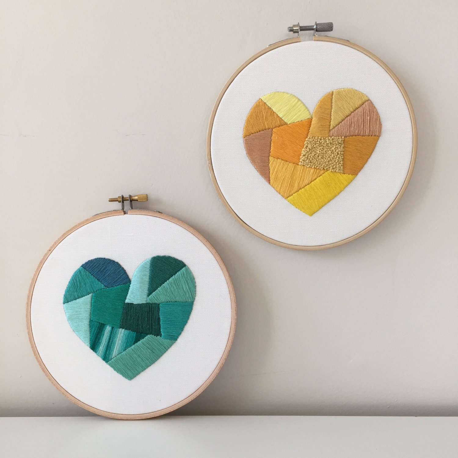 Heart embroidery pattern modern hand kit