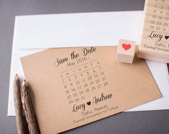 Save the Date Calendar Stamp with Heart Custom Wedding DIY