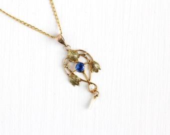 Sale - Antique 10k Yellow Gold Simulated Sapphire Edwardian Necklace - Vintage Lavaliere Art Nouveau Fine Pendant 1900s Pearl Leaf Jewelry