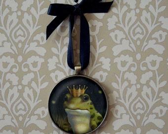 Frog Ornament, Frog Prince Ornament, Christmas, Frog Portrait, Toad Art, Frog Art, Animal Portrait, Kiss the Frog, Prince Charming,