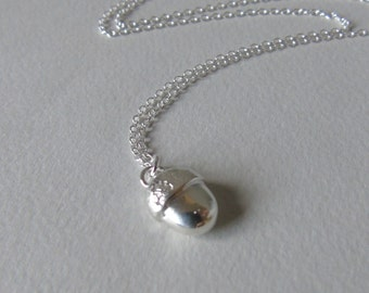Small silver acorn charm + necklace