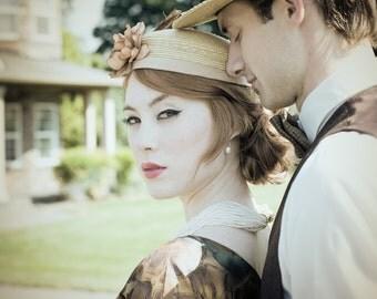 Ladies Straw Hat, Ladies Hat, Wedding Hat, Garden Party Hat, Straw Perch, 'Angelina' ~ by Babette's Hatworks