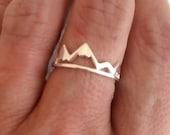 Silver Mountain Ring, adjustable band travel adventure delicate mountains range hiking outdoors skiing biking gift gifts