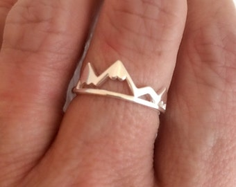 Silver Mountain Ring, adjustable band travel adventure delicate mountains range hiking outdoors skiing biking gift gifts