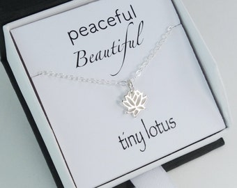 Lotus Necklace Gift, silver gold lotus necklace, Mother's Day Gifts bridesmaid bridal shower wedding gift tiny small lotus stud earrings