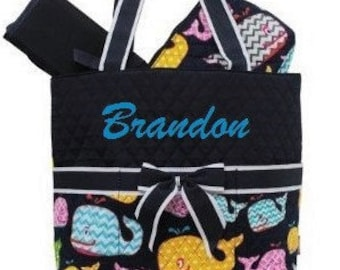 Personalized Diaper Bag 3pc Navy Whales