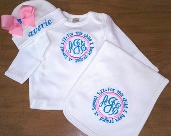 Layette Gown Cap and Burp Cloth Monogrammed For this Child I have Prayed
