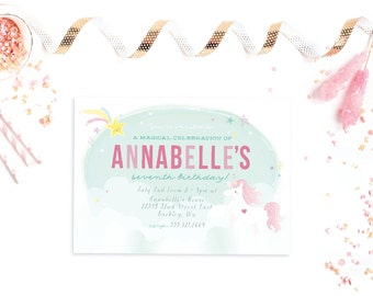 Unicorn Party INVITATION PRINTABLE DESIGN by Itsy Belle