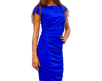 jersey dress, ruched dress, wiggle dress, pencil dress, blue dress