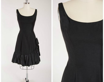 Vintage 1950s Dress • Mambo Number • Black 50s Wiggle Party Dress with Mermaid Hem Size Medium