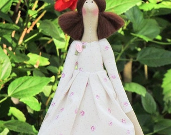 Rag doll Tilda doll fabric doll brunette - cute cloth doll stuffed doll gift for girl and mom baby shower gift nursery decor doll