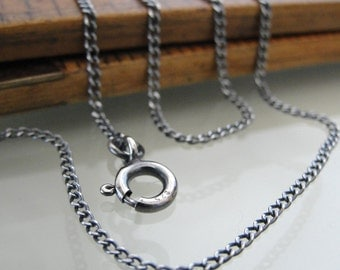Sterling Silver curb chain 24 inch long necklace (1.4mm) antique style oxidized for RQP Studio wax seal jewelry