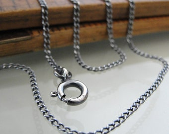 Sterling Silver curb chain 16 inch long necklace (1.4mm) antique style oxidized for RQP Studio wax seal jewelry
