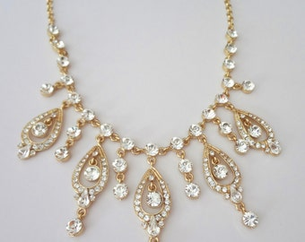 Gold bib necklace ~ Gold crystal necklace ~ Rhinestone, wedding necklace ~ Statement necklace ~ Brides necklace ~ Wedding jewelry ~ REBECCA