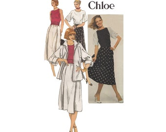 1970s Misses Skirt Top Jacket & Back Wrap Sleeveless Vest or Tank Pattern Bust 36 Paris Original Designer Chloe Vogue 1653 Kimono Sleeves