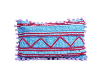 Small Pillow Case Batik Print Screen With Purple Poms Poms (CS5384.10)