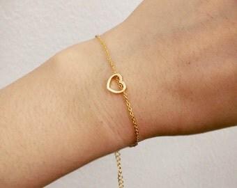 heart bracelet, gold heart, friendship bracelet,simple bracelet, Bridesmaid gifts, dainty bracelet