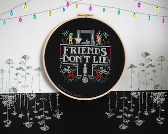 "Cross Stitch Pattern ""Friends Don't Lie"" Stranger Things Inspired Cross Stitch Pattern pdf. Instant Download."