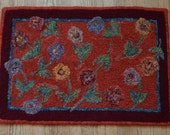 Hand Hooked Rag Rug - June Flowers on the Terrace Wool - 24 x 34 - Reserved for LC