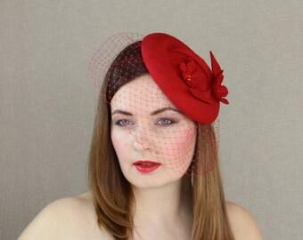 Red Wool Felt Pillbox Hat with Birdcage Veil - Bright Red Fascinator - Red Porkpie Hat - Valentines Day Hat - Red Wedding Hat