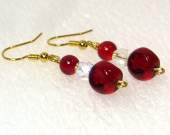 Cherry Red Dangle Earrings - Czech Glass Beaded Drop Earrings, Nickle-Free Gold Plated Earwires, Handmade in the USA, Ready to Ship